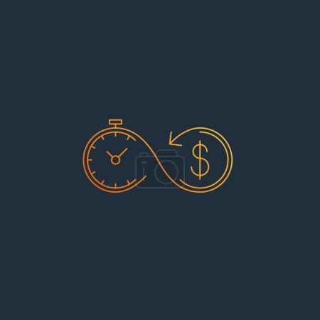 Illustration pour Le temps est argent, concept de compte d'épargne, illustration vectorielle - image libre de droit