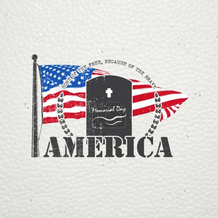 Happy Memorial day set. The celebration of patriotic celebration of America. Detailed elements. Typographic labels, stickers, logos and badges.