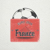 Football Championship of France Soccer time Detailed elements Old retro vintage grunge Scratched damaged dirty effect Typographic labels stickers logos and badges Flat vector illustration