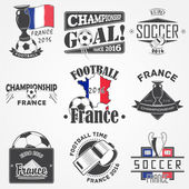 Football Championship of France set Soccer time Detailed elements Old retro vintage grunge Scratched damaged dirty effect Typographic labels stickers logos and badges Flat vector