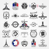 Football Championship of France set Soccer time Detailed elements Typographic labels stickers logos and badges Flat vector illustration