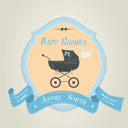 Baby shower invitation with flat baby carriage.