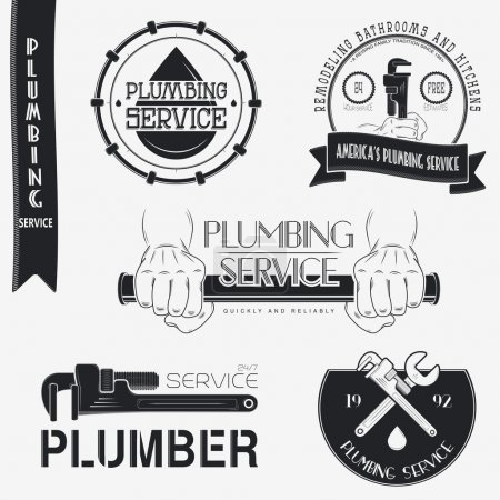 Plumbing service. Home repairs. Repair and maintenance of buildings. Set of Typographic Badges Design Elements, Designers Toolkit.