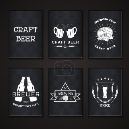 Beer pub set. Brewing typographic labels, logos and badges.