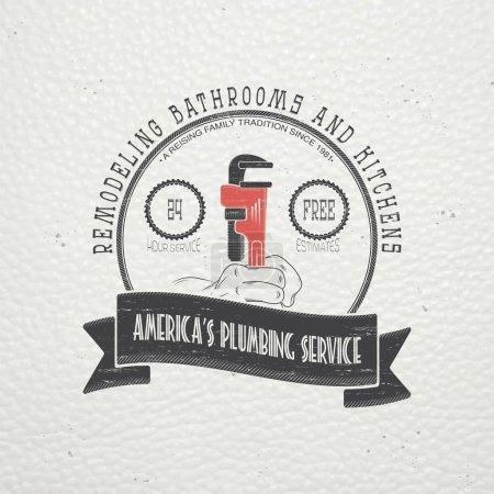 Illustration pour Service de plomberie. Réparations. Réparation et entretien des bâtiments. Etiquettes typographiques monochromes, autocollants, logos et badges. Illustration vectorielle plate - image libre de droit