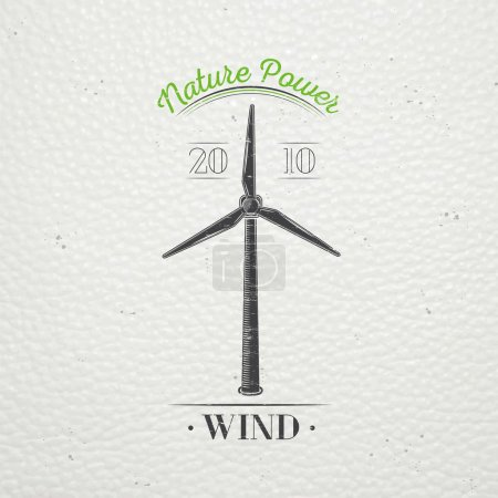 Windmills for energy. Sustainable ecological electrical power generator powered by wind natural energy source. Old retro vintage grunge. Typographic labels, stickers, logos and badges.
