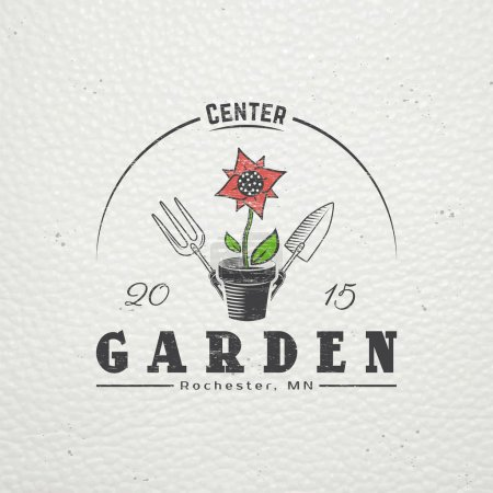 A farm growing flowers. Gardening Tools Shop. Garden Center set. Old retro vintage grunge. Scratched, damaged, dirty effect. Typographic labels, stickers, logos and badges.