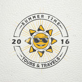 Summer time Tourist agency Travel around the world Detailed elements Old retro vintage grunge Scratched damaged dirty effect Typographic labels stickers logos and badges Flat vector