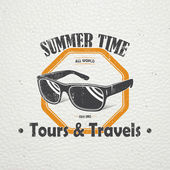 Summer time Tourist agency Travel around the world Detailed elements Old retro vintage grunge Scratched damaged dirty effect Typographic labels stickers logos and badges