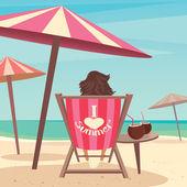 Girl sunbathes on the beach