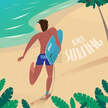 Man runs to ride the surf