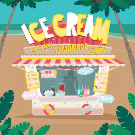 Stall selling ice creams by the sea