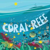 """Постер, картина, фотообои """"Коралловый риф с рыбой и морскими водорослями"""""""