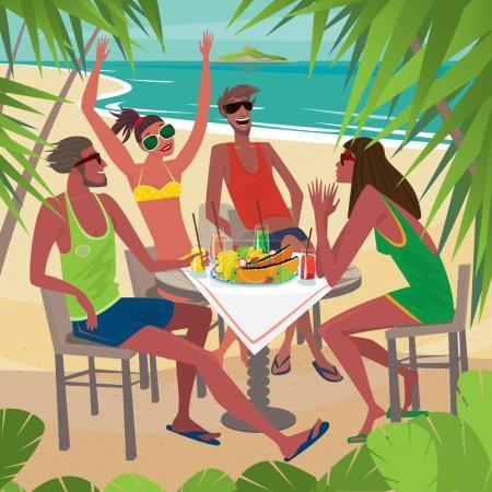 Freunde frühstücken an einem Tisch am Strand