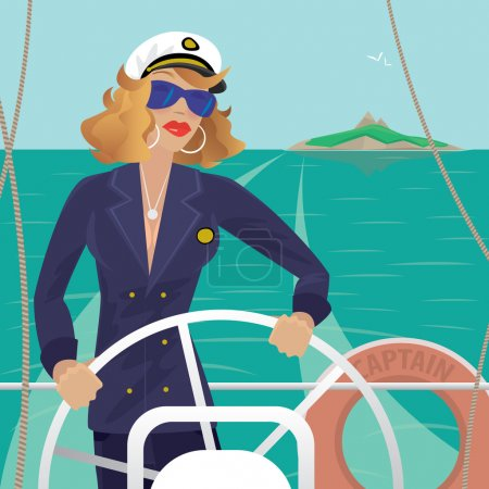 Sea captain female on the deck with ships steering wheel