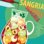 Sangria white in glass. Vector illustration...