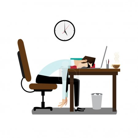 Illustration for Vector Illustration of tired office man sleeping at working desk - Royalty Free Image