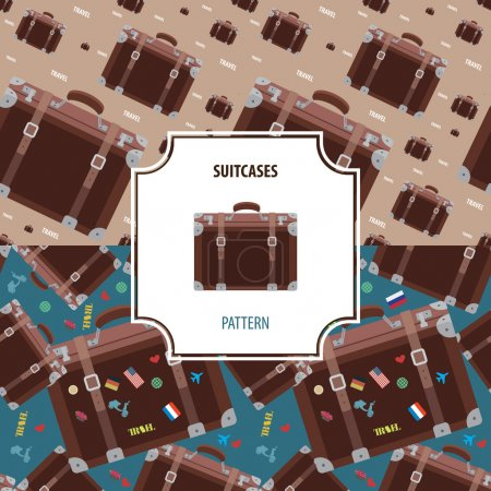 Illustration for Suitcases pattern number 1, set of two versions - Royalty Free Image