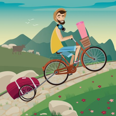 Illustration for Young backpacker on a bicycle in the cycling tour in the mountains   side view   nice landscape with animals on background - Royalty Free Image