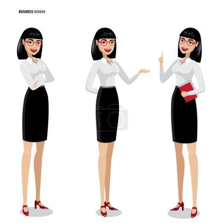 Illustration pour Illustration vectorielle de femme d'affaires contient un ensemble de femmes d'affaires isolées dans trois postes - image libre de droit