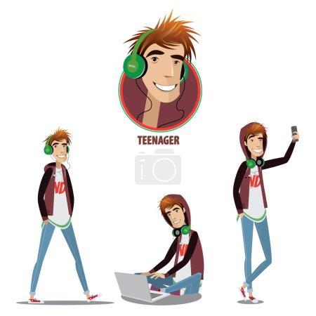 Illustration pour Ensemble d'adolescents qui marche ou fait du selfie ou s'assoit avec un carnet - image libre de droit