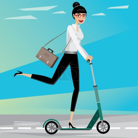 Illustration for Happy businesswoman rushing from work by scooter - Royalty Free Image
