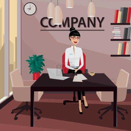 Illustration pour Femme d'affaires souriante assise dans son bureau privé et travaillant - image libre de droit