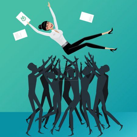 Illustration for Group of people toss up business woman - Royalty Free Image