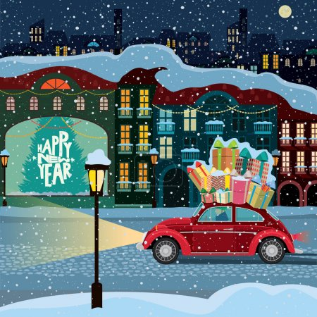 Illustration for Retro car carries gift boxes through the old town in the snowy weather - Royalty Free Image