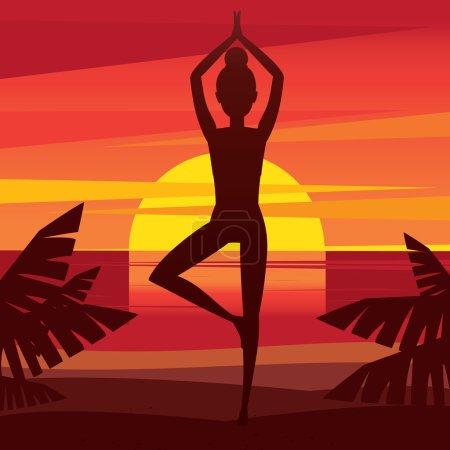 Woman standing in yoga pose vrikshasana - mental b...