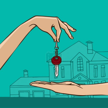 House key from hand to hand - house gift or sale c...