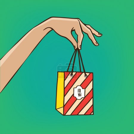 Illustration for Woman extends her hand with the shopping bag - sale or gift concept - Royalty Free Image