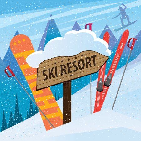 Snow slope with skis, snowboard and inscription