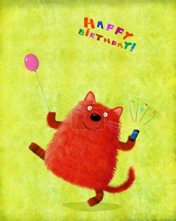 Photo pour Une jolie carte d'anniversaire : un chat amical tenant un ballon et un téléphone portable sonnant . - image libre de droit
