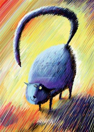 Photo pour Sourire de chat avec queue bosselées debout fullface - image libre de droit