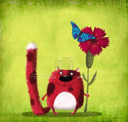 Red Cat Holding Red Cornflower