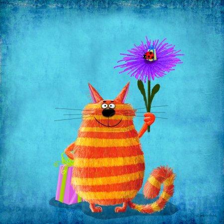 Photo pour Mignon chat rayé souriant tenant une grande boîte cadeau et une énorme fleur violette avec une coccinelle assise dessus et prenant soin d'une petite boîte cadeau . - image libre de droit