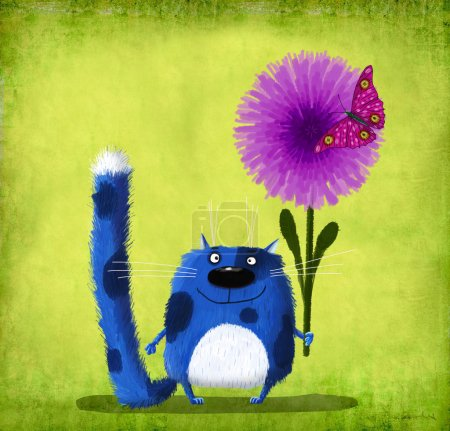 Blue Spotted Cat with Flower and Butterfly