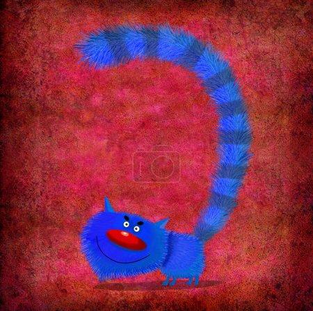 Photo pour Chat bleu drôle avec longue queue gonflée sur le fond rouge dégradé . - image libre de droit