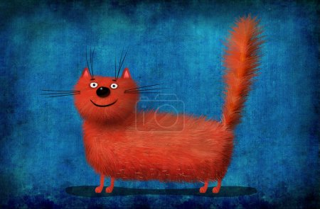 Red Fluffy Cat on Background Painted Linen