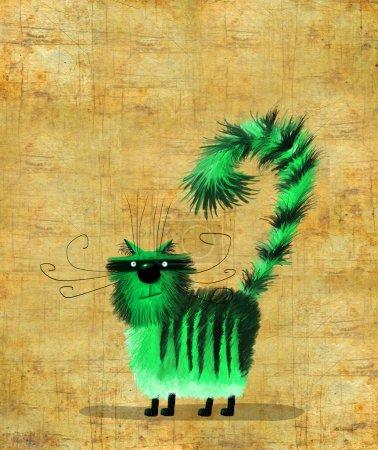 Photo pour Un joli chat vert rayé avec la queue comme un point d'interrogation sur le beau fond de couleur sable - image libre de droit