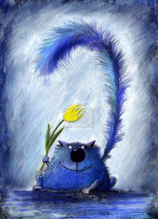 Photo pour Un petit chat moelleux joyeux tenant une belle fleur jaune . - image libre de droit