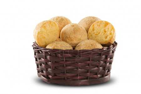 Brazilian cheese buns . Table cafe in the morning with cheese, bread and fruit