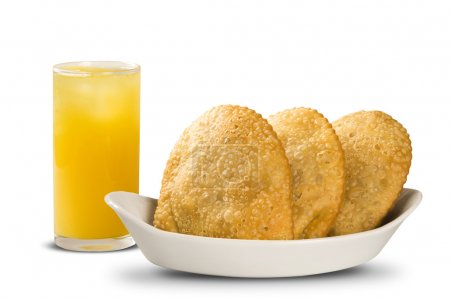 Photo for Deep fried stuffed pastry and soda or cola. Brazilian food pasteis on the white background. Brazil food. - Royalty Free Image