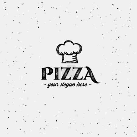 Illustration pour Logo pizza avec chef casquette. Modèle de conception . - image libre de droit
