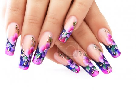 Floral design on  nails.