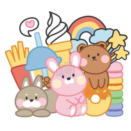Illustration pour Doodle image tyle.Hand drawn.Cute dessin animé personnage design.Rabbit.Dog.Bear. - image libre de droit