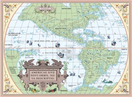 Photo pour Ancienne carte de l'Amérique du Sud et du Nord - image libre de droit