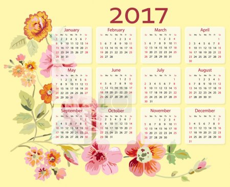 Vector calendar 2017 year with flowers. Week starts with Sunday.