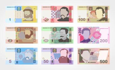 Money banknote. Ukrainian Hryvnia set....